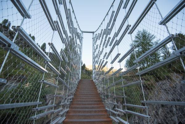 Die neue Hängebrücke nahe der Zufallhütte